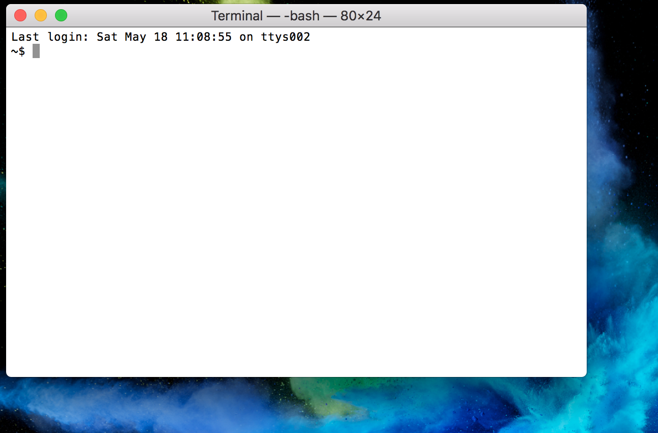 Screenshot of the Terminal app. The text says Last login: Sat May 18 11:08:55 on ttys002 ~$